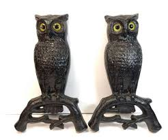 antique vtg cast iron owl fireplace