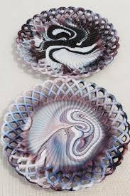 vintage purple slag art glass open lace