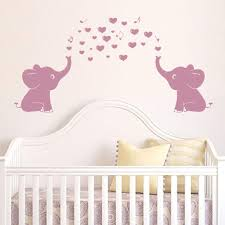 Amazon Com Elephant Wall Decal With Elephant Family Wall Decal Removable Vinyl Wall Art Elephant Bubbles Wall Stickers Baby Nursery Wall Decor Pink Arts Crafts Sewing