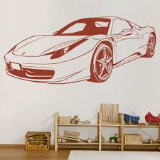 Ferrari Sports Car Wall Sticker Transport Wall Decal Boys Bedroom Home Decor Ebay
