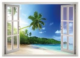 Tropical Beach View Window 3d Wall Decal Art Mural Home Decor Canvas Vinyl W32