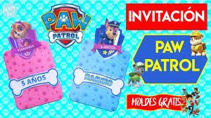 Paw Patrol Invitacion Paw Patrol Diy Moldes Patrulla