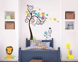 Animal Friends With Flower Tree Vinyl Wall Decals Nursery Sticker