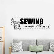 Sewing Lettering Wall Sticker Sewing Mends The Soul Quote Room Decoration Sewing Studio Poster Mural Art Design Decals W136 Wall Stickers Aliexpress