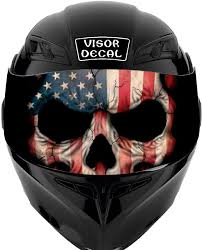 Amazon Com V33 American Flag Skull Visor Tint Decal Graphic Sticker Helmet Fits Icon Shoei Bell Hjc Oneal Scorpion Agv Automotive