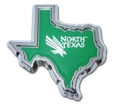 University Of North Texas State Shape Chrome Emblem Elektroplate