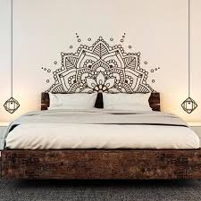 Half Mandala Wall Sticker With Multiple Color Size Options Art Print As Part Of A Gallery Wall Colle Wall Decals For Bedroom Headboard Decal Boho Headboard