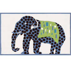 Elephant Blue Kids Room Rug