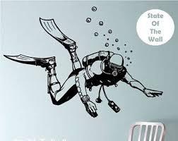 Scuba Diver Vinyl Wall Decal Sticker Art Decor Bedroom Design Mural Scuba Tattoo Wall Decals Diver Art