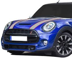 Amazon Com Car Styling Hood Bonnet Stripes Sticker Trunk Rear Engine Cover Vinyl Decal Stickers For Mini Cooper R56 R57 F55 F56 Accessories Gray Red Arts Crafts Sewing