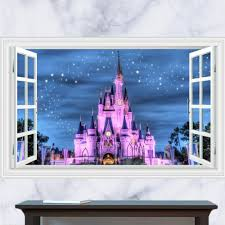 3d Cute Fake Window Wall Stickers For Children Room Adhesive Vinyl Kid Wall Pictures For Bedroom Kids Castle Decal Wall Art Wall Decals
