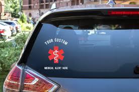 Custom Medical Alert Car Decal Medical Alert Vinyl Decal Diabetes 614vinylllc