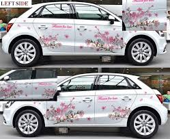 Left Side Car Stickers High Grade Fresh Pink Flower Car Styling Both Sides And Hood Floral Car Body Sticker Decal Waterproof Flower Car Car Stickerside Car Sticker Aliexpress