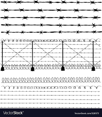Barbed Wire Fence Royalty Free Vector Image Vectorstock