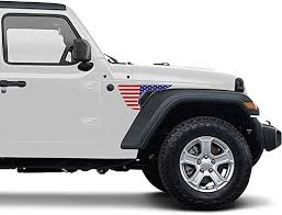 Amazon Com Precut Side Fender Vent American Flag Vinyl Decal Compatible With Jeep Wrangler Jl 2018 2020 And Gladiator 2020 Blue Red Kitchen Dining