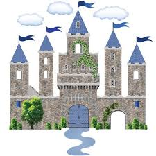 Stonewall Medieval Castle Wall Decal With Blue Turrets Flags Wall St
