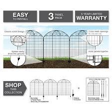 Vigoro Rockdale 43 8 In Black Steel Fence Panel 3 Pack 860244 The Home Depot In 2020 Steel Fence Steel Fence Panels Fence Panels