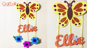 Diy Door Name Plate For Kids Room Foam Craft Wall Hanging Kids Craft Youtube