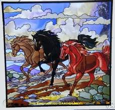 3 galloping horses 19 5 stained glass