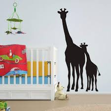 Amazon Com Roll Over Image To Zoom In Flywalld Large African Safari Giraffe Wall Decal Removable Vinyl Art Zoo Kids Room Animal Living Room Sticker Nursery Mom And Baby Giraffe Decor Arts Crafts