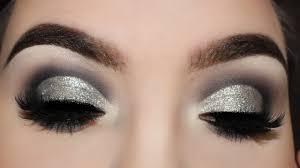 cool toned grey silver glitter smokey