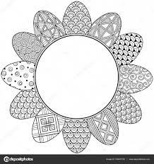 Vrolijk Pasen Ronde Vignet Van Zwart Wit Doodle Paaseieren