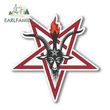 Earlfamily 13cm X 13cm Pentagram Symbol Vinyl Stickers Laptop Pagan Satanic Goats Head Car Sticker For Window Bumper Trunk Decal Car Stickers Aliexpress