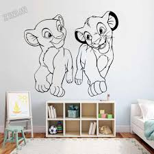Lion King Simba And Nala Wall Sticker Decor Nursery Baby Bedroom Vinyl Wall Decal For Living Room Adornment Dormitory Decal Y227 Wall Stickers Aliexpress