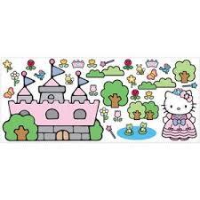 Roommates Hello Kitty Princess Castle Giant Wall Decal Walmart Com Princess Kitty Hello Kitty Wallpaper Kitty Wallpaper