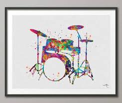Drums Watercolor Print Drum Set Music Instrument Wall Art Etsy Watercolor Print Poster Wall Art Art