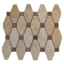 Octagon Marble Shower Mosaic Tile Tile The Home Depot