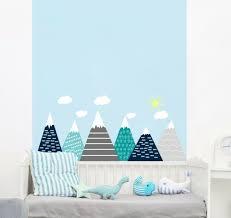 Grey And Blue Mountain Wall Decal Nursery Woodland Adventure Decor Clouds Fs15 Ebay
