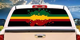 Amazon Com Signmission Rasta Flag Rear Window Graphic Back Truck Decal Suv View Thru Vinyl Home Kitchen