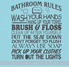 Bathroom Wall Decals Quote Rules Subway Art Vinyl Sticker Bath Letters