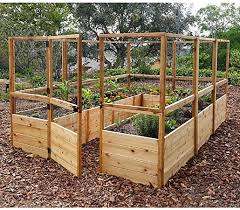 8 Ft X 12 Ft Cedar Raised Garden Bed With Deer Fence Amazon Ca Patio Lawn Garden