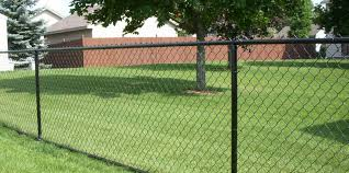 Residential Black Vinyl Chain Link Installation Fence Okc Oklahoma City Fence Contractor
