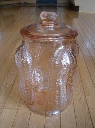 planters peanut jar pink depression glass