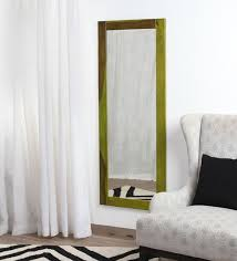 solid wood wall mirror in green color