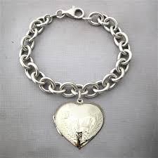 large engraved heart locket bracelet
