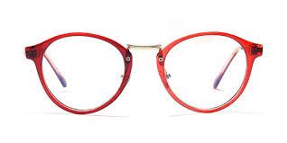 red full frame round eyeglasses