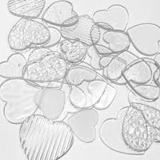 precut handcrafted clear heart shaped
