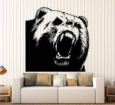 Amazon Com Adecals Cool Angry Bear Decal On The Wall All Colors S000884 Home Kitchen