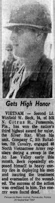 1LT Winfield Wesley Beck, Pensacola, FL on www.VirtualWall.org The Virtual  Wall® Vietnam Veterans Memorial Wall