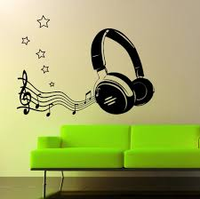 Music Fashion Headphone Free Shipping Vinyl Wall Stickers Mural Art Modern Home Living Room Wall Decals Decorative F 183 Wall Decals Vinyl Wall Stickerswall Sticker Aliexpress