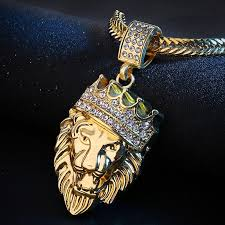 hip hop lion head gold necklace