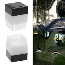 Solar Power Fence Post Pool Led Square Light Garden Lamp Shopee Philippines