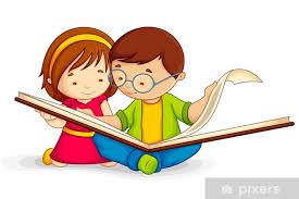 Pixerstick-klistremerke Vektor illustrasjon av barn leser åpen bok sitter  på gulvet • Pixers® - Vi lever for forandring