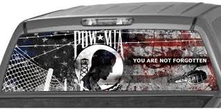 Amazon Com Motorink Pow Mia Flag Rear Window Graphic Decal Tint Sticker Truck Suv Ute Millitary Glasscape Automotive