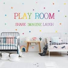 Stars Share Imagine Laugh Quote Wall Decal Gamer Playroom Sticker Home Decor Kids Teen Bedroom Playroom Vinyl Wall Art Decals Wall Stickers Aliexpress