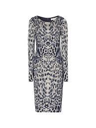 Reiss Sonya Long-Sleeved Bodycon Dress, Blue at John Lewis & Partners